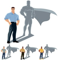 Man Superhero Concept: Conceptual illustration of ordinary man with superhero shadow. The illustration is in 4 versions. No transparency and gradients used.