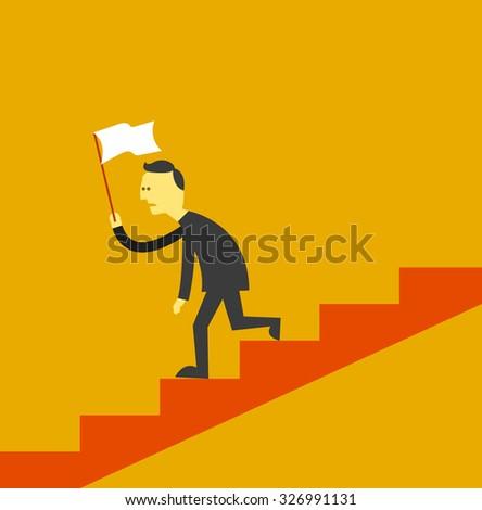 man surrender flag walking down stair