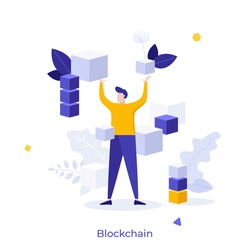 Man surrounded by levitating cubes or cubic blocks. Concept of blockchain technology, decentralized and distributed cryptographic system used for digital transactions. Modern flat vector illustration.