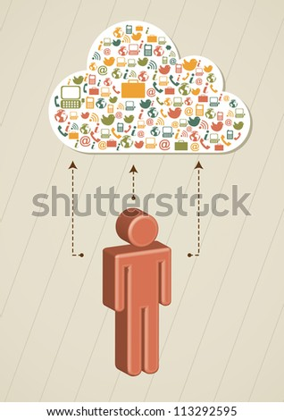 man symbol with a cloud of communication icons