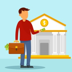 Man take money case to bank concept background. Flat illustration of man take money case to bank vector concept background for web design