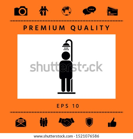 Man taking a shower. Graphic elements for your design