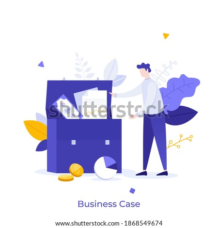 Man taking documents and money from briefcase. Concept of business case, company portfolio, venture capital investment firm, financial management. Modern flat vector illustration for poster, banner. Foto d'archivio ©