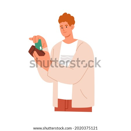Man taking his plastic bank credit or debit card out of wallet. Happy young person ready to buy and pay cashless. Buyer making payment. Flat vector illustration isolated on white background