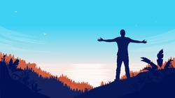 Man taking in the view of seascape - Silhouette of male person with arms out in nature landscape. Freedom and carefree concept. Vector illustration.