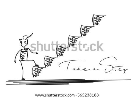 Man Taking Next Step or Achievement, Cartoon Hand Drawn Vector Background.