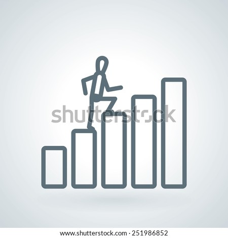 Man Taking Next Step or Achievement Line Icon