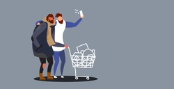 man taking selfie photo near beggar pushing trolley cart with belongings on smartphone camera social media network homeless concept sketch doodle horizontal