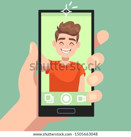 Man taking selfie photo on smartphone. Smiling male character making selfie photo with smartphone camera in hand flat vector happy portrait and cute photography self concept