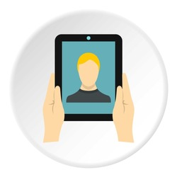 Man taking selfie using tablet icon. Flat illustration of tablet vector icon for web design