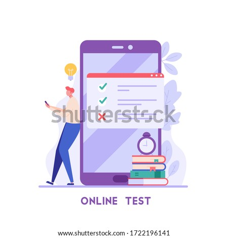 Man taking university exam remotely and temporarily. Student writing test. Concept of online exam, online survey, testing, e-learning. Vector illustration in flat design for UI, banner, mobile app