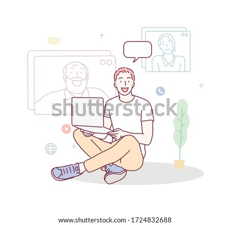 Man talking by video chat. Conference call at office. Online Interview. Hand drawn style vector design illustrations.