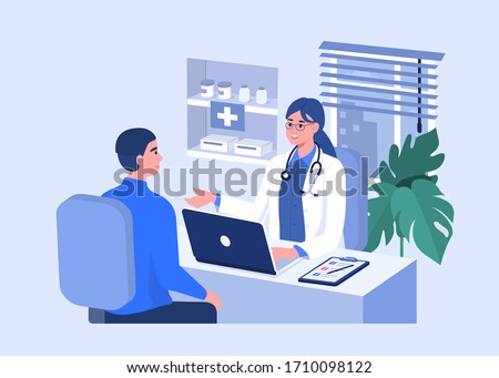Man Talking with Woman Doctor in Office. Patient having Consultation about Disease Symptoms with Doctor Therapist in Hospital. Medical People Characters.  Flat Cartoon Vector  Illustration.