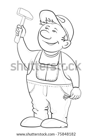 Man the worker in a cap and a uniform hammers in a nail, vector, contours