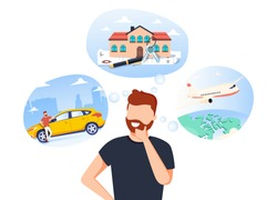 Man think about house, car and vaction on the sea. Male character dream about wealth. Flat vector illustration. Businessman thinking about investing money. What to buy? Business success vector