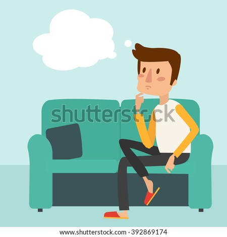 man thinks and sit on the sofa