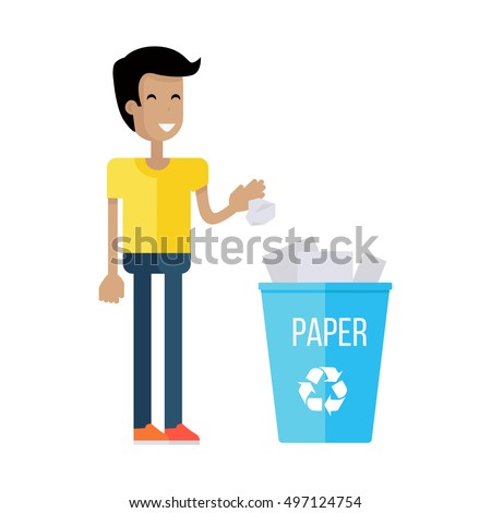 Man throw the paper into blue recycle garbage bin with paper. Reuse or reduce symbol. Plastic recycle trash can. Trash can icon in flat. Waste recycling. Environmental protection. Vector illustration.