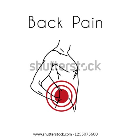 Man touching back in pain area. Backache illustration for medicine or presentation