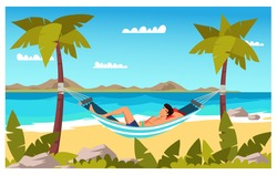 Man tourist character sleaping in hammock at seacoast. Tropical resort on summer vacation. Vacation in warm country. Sea line, sand beach, sun, sky, palms. Vector flat colorful illustration