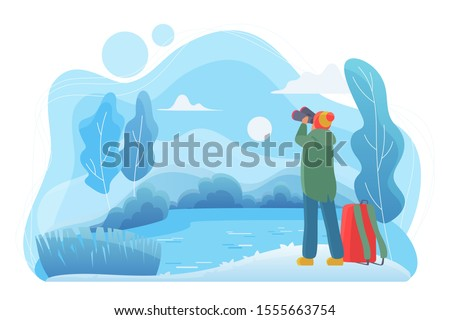 man traveler with binoculars