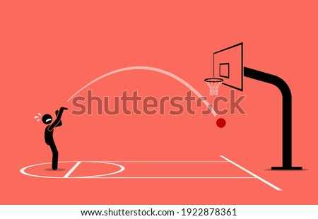 Man trying to shoot a basketball into a hoop. He completely miss and getting an air ball. Vector illustration concept of inaccurate, newbie, unskilled, frustration, and failure. Сток-фото ©