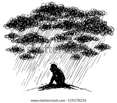 Man under stormy rainy clouds. Concept illustration about sadness and depression.
