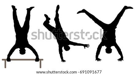 Man upside down silhouette