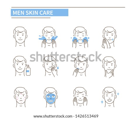 Man use different skin care products. Line style vector illustration isolated on white background.