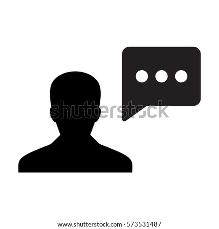 Man User Icon - Person Profile With Chat Bubble Glyph Vector illustration