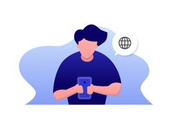 man uses his handphone or smartphone, browsing web illustration concept, front view, vector flat style.
