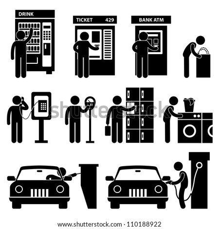 Man using Auto Public Slot Machine Icon Symbol Sign Pictogram