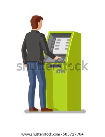 man using cash atm machine vector illustration