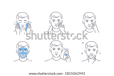 Man Using Cosmetic Products for Facial Skin. Facial Cleaning, Moisturizing and other After Shave Care. Guy Making Skincare Procedures. Flat Line Vector Illustration and Icons set.