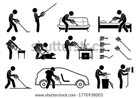 Man using handheld cordless stick vacuum cleaner to clean the house. Vector icons of vacuum cleaner sucking dust on floor, ceiling, sofa, bed mattress, furniture, pet dog, computer, carpet, and car.