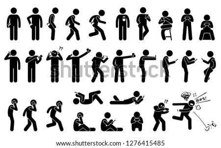 Man using, holding, and carrying phone or smartphone in different basic position and postures. Stick figures depict a set of human with a cellphone.
