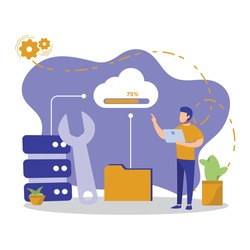 man using laptop controls data storage. cloud online data storage technology. cloud concept, backup concept. protect cloud information data. hosting with cloud data storage and server.