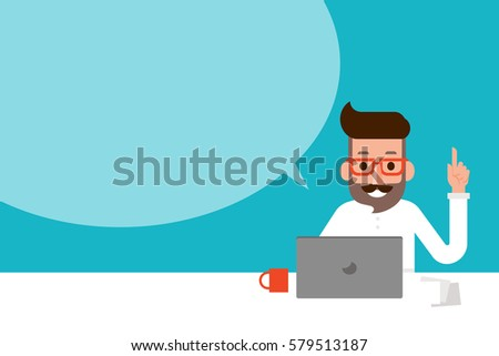 Man using laptop with speech bubble.