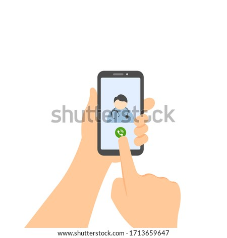 Man using mobile phone to call doctor. Medical consultation with doctor on the phone. Vector illustration isolated on white background