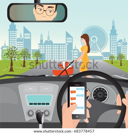 Man using smartphone while driving the car when woman with a stroller are crossing the road, traffic accident graphic design conceptual vector illustration.