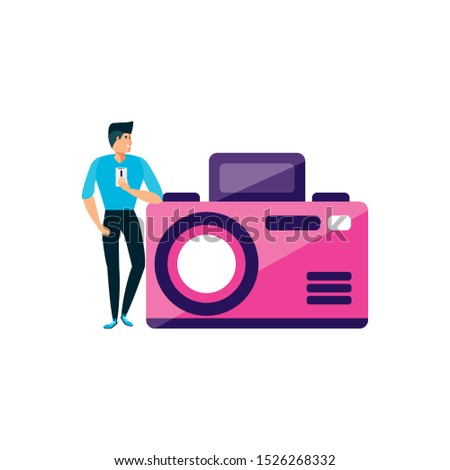 man using smartphone with camera photographic vector illustration design
