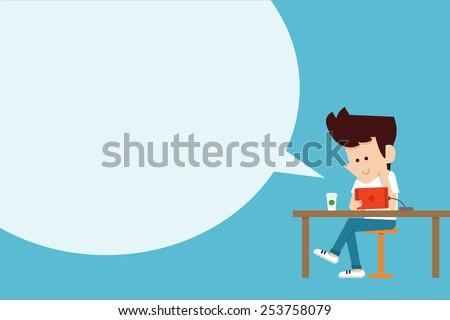 man using tablet flat design
