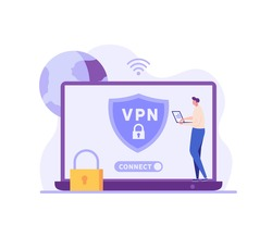 Man using VPN for laptop or computer. User protecting personal data with VPN service. Concept of virtual private network, сyber security, secure web traffic, data protection. Vector illustration