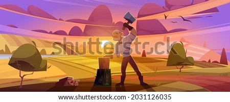 man villager with axe chop