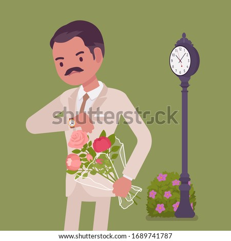 Man waiting at the romantic date, checking time. Elegant boyfriend with flower bouquet, unhappy lonely cheated male partner, anxiety on getting late friend. Vector flat style cartoon illustration