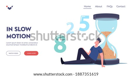 Man Waiting in Lobby Landing Page Template. Long Wait, Male Character in Hall Sit and Sleeping at Huge Hourglass. Appointment in Clinic or Office, Airport Departure Delay. Cartoon Vector Illustration