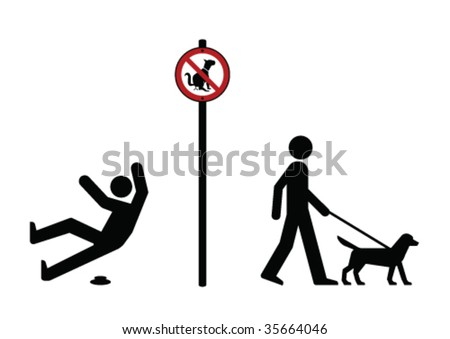 Man walking dog and no dog fouling sign