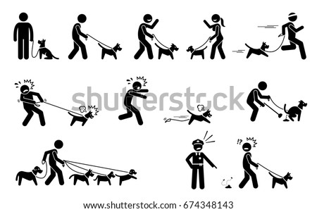 man walking dog stick figures