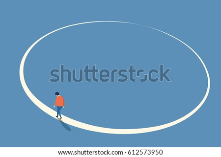 man walking in circle from