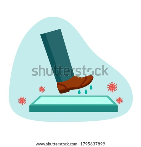 Man walking on disinfection mat to clean shoe from Covid-19 coronavirus and bacteria. Healthcare concept vector illustration on white background. Foto stock ©