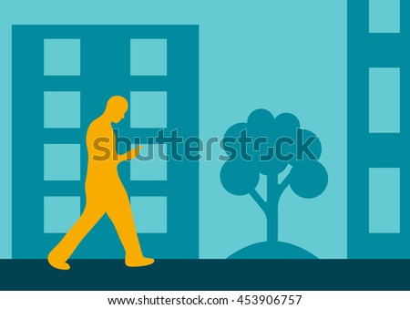 man walking with the phone in